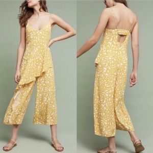 Anthropologie Maeve Yellow One Piece Pant Romper